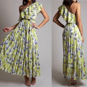 Yellow off the shoulder maxi dress